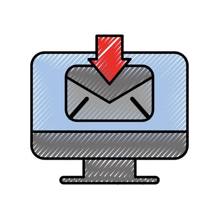 컴퓨터 이메일 커뮤니케이션 벡터 일러스트를 다운로드받을