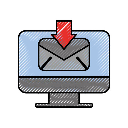 computer receive email communication download vector illustration Illustration