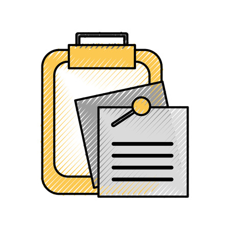 clipboard with note paper memo pin office vector illustration