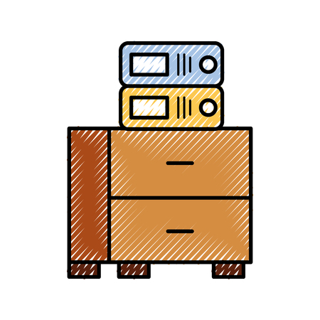 office cabinet with binder organization archive vector illustration