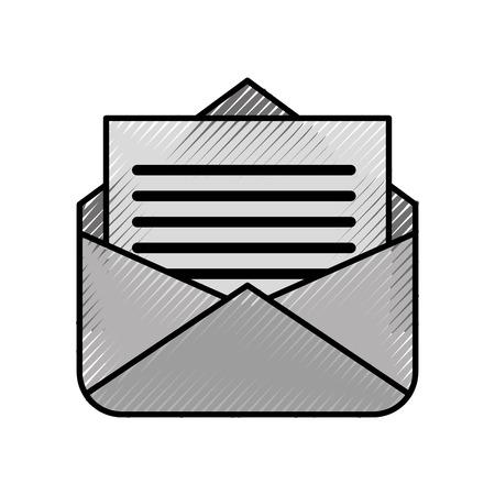 開いた電子メール封筒のレター情報アイコンベクトルイラスト