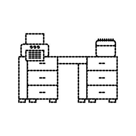 office desk printer paper and calendar workspace vector illustration
