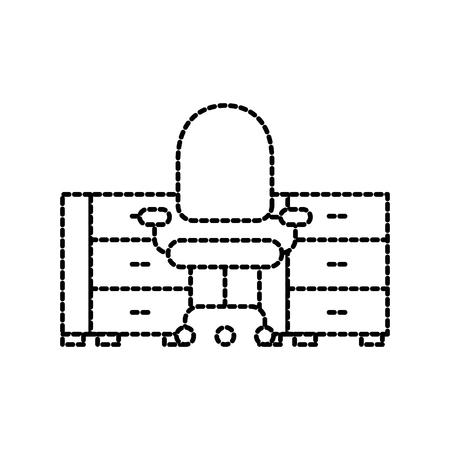office desk and armchair furniture elegance vector illustration