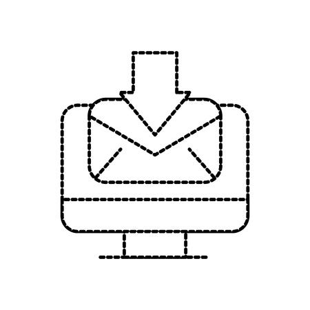 computer receive email communication download vector illustration Illustration