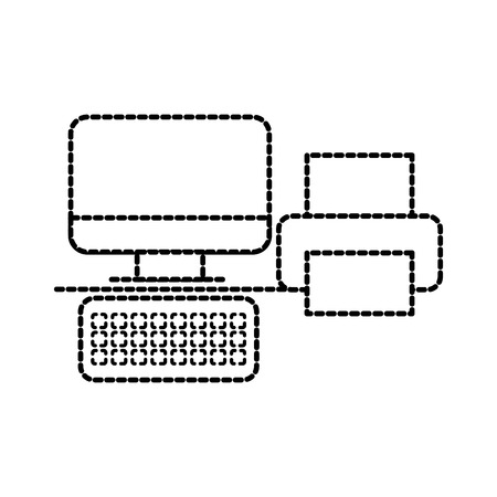 computer and printer office business device technology vector illustration