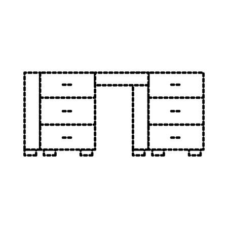 オフィスデスク引き出し家具木製機器ベクトルイラスト  イラスト・ベクター素材