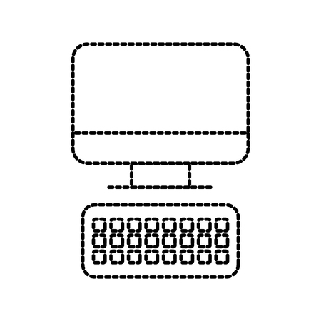 computer keyboard technology device office work vector illustration