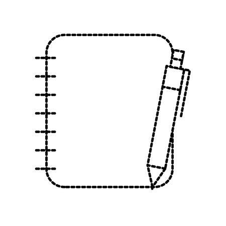 spiraal notitieboekje met pen kantoorbenodigdheden vectorillustratie