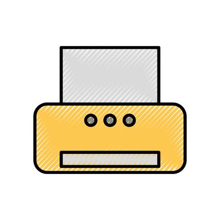 Büro Drucker Elektrotechnik Scanner Vektor-Illustration Standard-Bild - 86318933