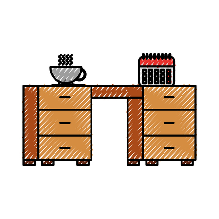 office desk furniture and calendar coffee cup vector illustration