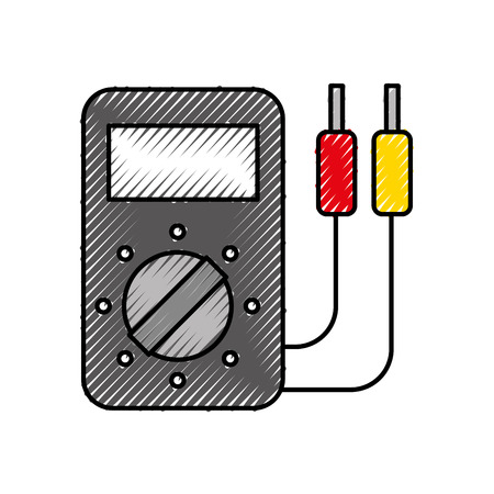 car battery tester appliance measure power vector illustration Illustration