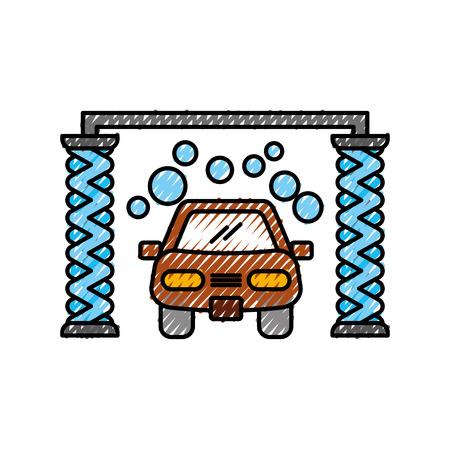 Servizio di lavaggio automatico shampoo servizio centro icona illustrazione vettoriale Archivio Fotografico - 86318967