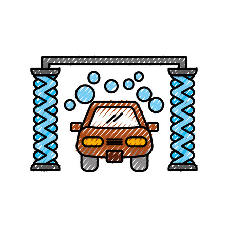 automatic car wash shampoo service center icon vector illustration Illustration