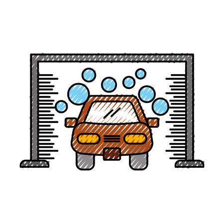 automatic car wash shampoo service center icon vector illustration Ilustrace