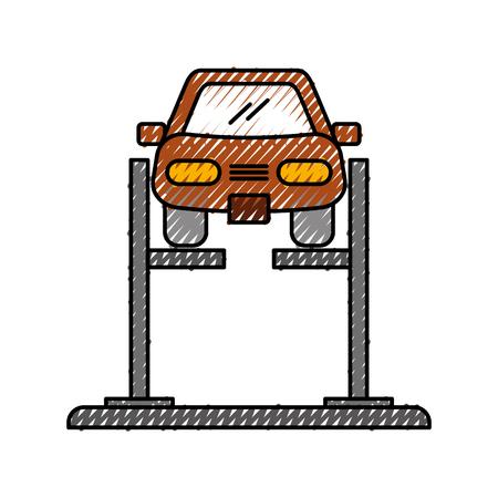 바퀴 정렬 서비스 역 벡터 일러스트 레이 션에서 정렬 장치와 만화 자동차