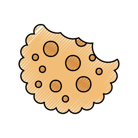 chocolate chip cookie dessert eating icon vector illustration Stock Vector - 86318977