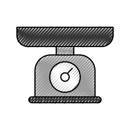 weight scale measure kitchen cooking equipment vector illustration