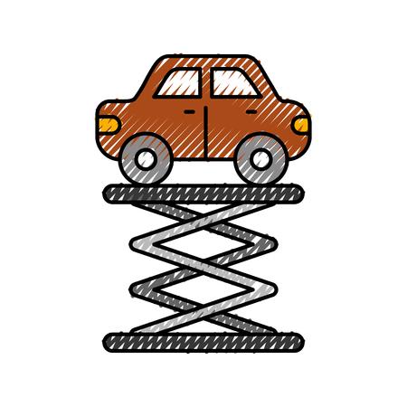 漫画車オーバー自走リフトサービスメンテナンスベクトルイラスト