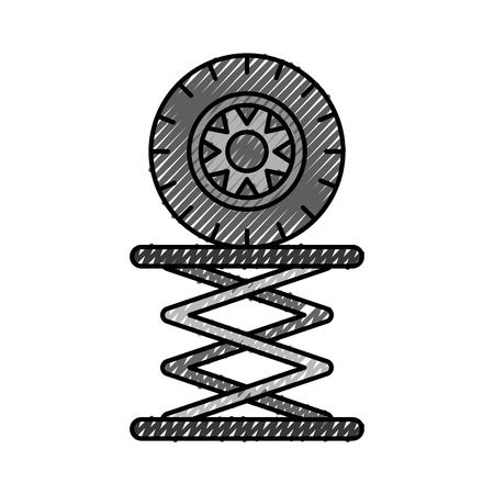 Autoreifen in hydraulische Plattform mechanische Motor Vektor-Illustration Standard-Bild - 86318982