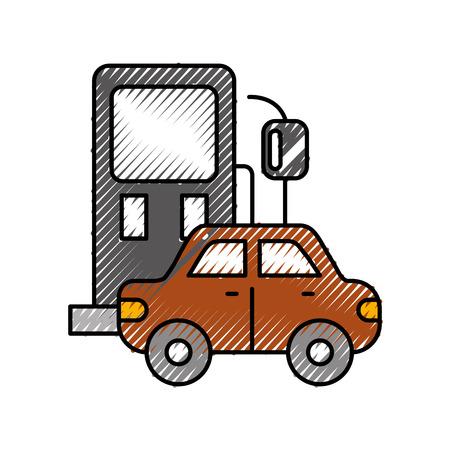 Icona della stazione di servizio e dell'automobile sopra l'illustrazione bianca di vettore di progettazione del fondo Archivio Fotografico - 86318985