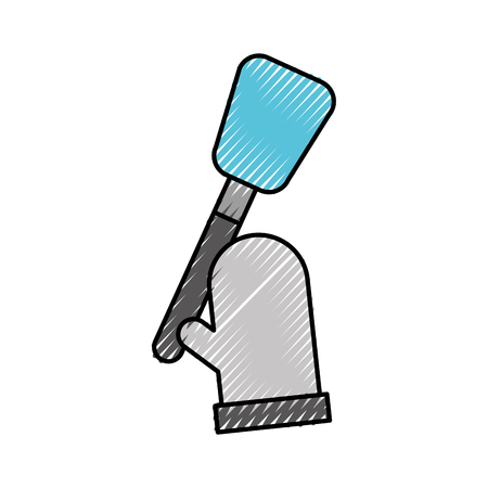 kitchen glove and spatula pastry element vector illustration