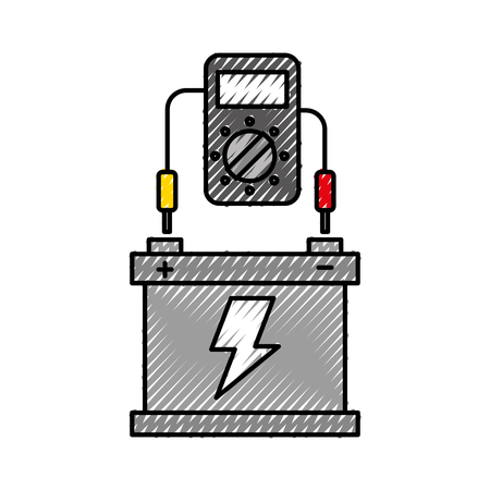 テスター装置を備えた車のバッテリー電気機器のベクトルイラスト