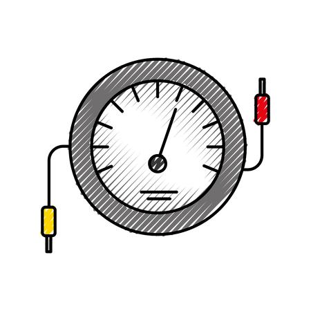 Ilustración de vector de prueba de cable eléctrico de contador de icono de velocímetro Foto de archivo - 86318993
