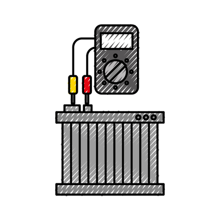 car radiator with tester mechanic electrical device vector illustration Stok Fotoğraf - 86318995