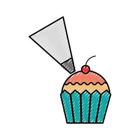컵 케 잌은 체리와 빵집 과자 음식 신선한 벡터 일러스트를 입힌 스톡 콘텐츠