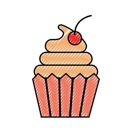 Cupcake Dessert Gebäck Produkt Essen frisch Vektor-Illustration Standard-Bild - 86319002