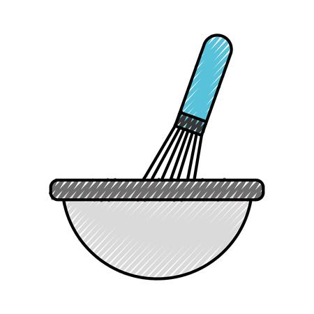 調理ベクトルイラストのためのハンドミキサー器具付きキッチンボウル