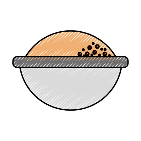 cartoon bowl with flour ingredient bakery and dessert vector illustration Stock Photo