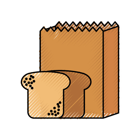 paper bag bakery and bread fresh food vector illustration