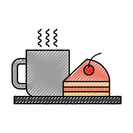 coffee cup cake berry cream dish snack fresh hot vector illustration 向量圖像