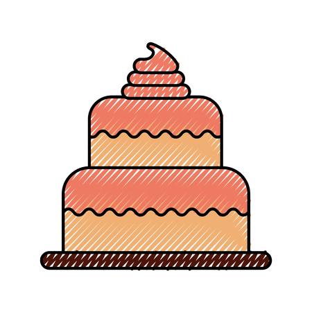 バースデーケーキデザートお祝いの装飾アイコンのイラストレーション