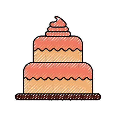 birthday cake dessert celebration decorative icon ilustration Illustration