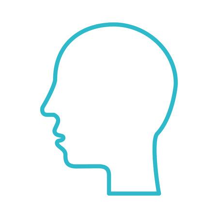 silhouette human head profile man image vector illustration