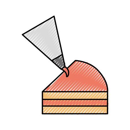 粉袋クリーム装飾ベクトルイラストの半ピースケーキ 写真素材 - 86319044