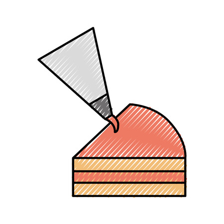half piece cake with icing bag cream decoration vector illustration