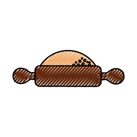 Ilustración de vector de iconos de cocina de preparación de rodillo y harina de harina Foto de archivo - 86319045