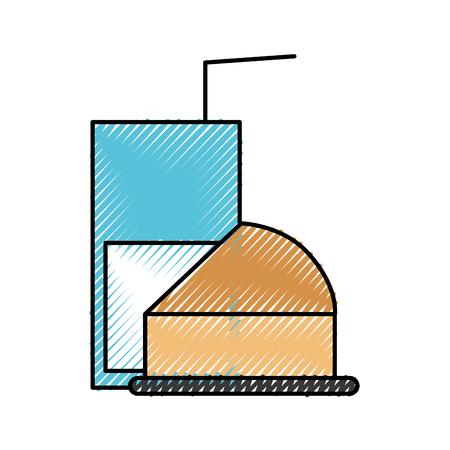 ハーフケーキとグラスミルクストロー朝食ベクターイラスト  イラスト・ベクター素材