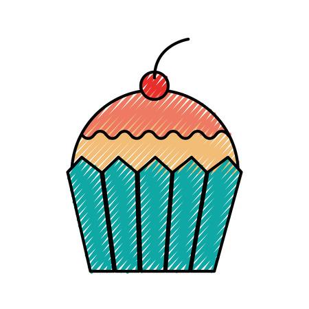 Cupcake Dessert Gebäck Produkt Essen frische Symbol Standard-Bild - 86319052