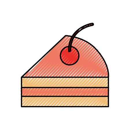 sweet baked cake birthday cream delicious icon Illustration