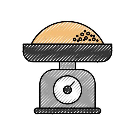 小麦粉測定アイコン ilustration とキッチン重量スケール