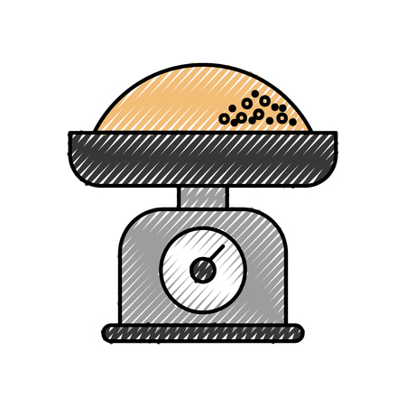 kitchen weight scale with flour measure icon ilustration Illustration
