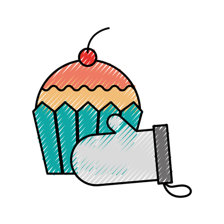 cupcake party and potholders baking kitchen vector illustration