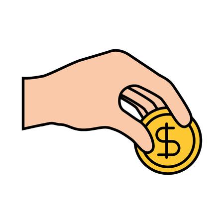 hand give coin money dollar bank economic vector illustration