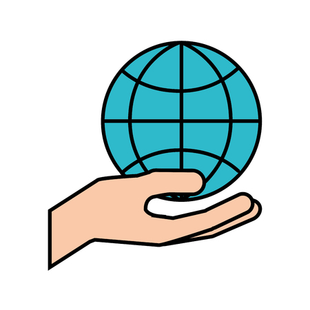 hand holding globe world commerce financial vector illustration