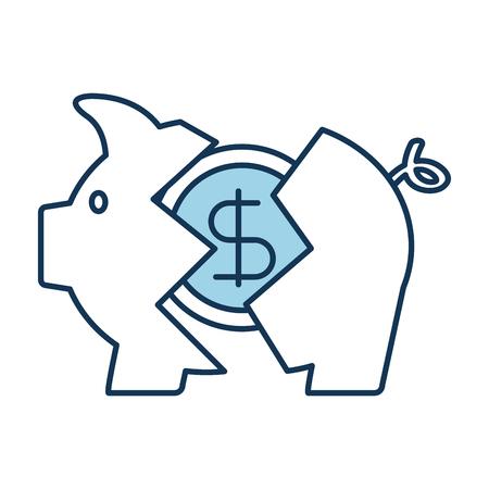 banking piggy gebroken munt dollar crisis vectorillustratie