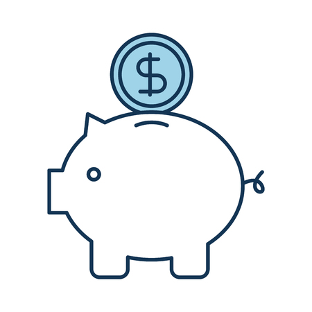 piggy coin dollar money bank safety investment symbol vector illustration Ilustração